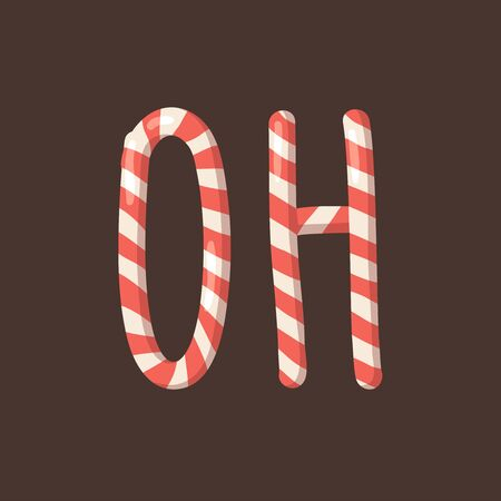 Cartoon illustration Christmas Candy Cane. Hand drawn font. Actual Creative Holidays sweet alphabet and word OH 版權商用圖片 - 131718878