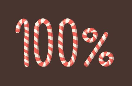 Cartoon vector illustration Christmas Candy Cane. Hand drawn font. Actual Creative Holidays sweet alphabet and 100%