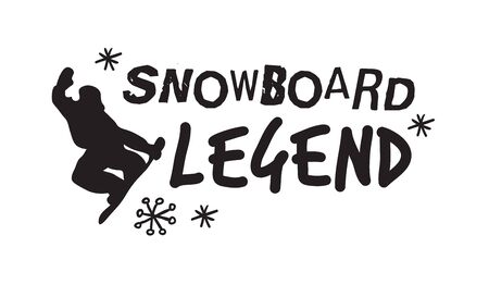 Ski Resort icons with funny text. Ride and Snowboarding motivation badges. Hand drawn Riders quotes, travel labels Ilustracja