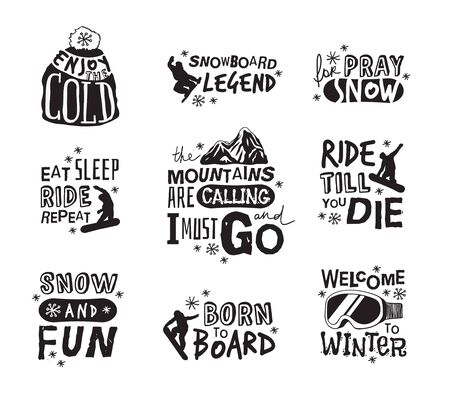 Ski Resort  icons with funny text. Ride and Snowboarding motivation badges. Hand drawn Riders quotes, travel labels Ilustrace