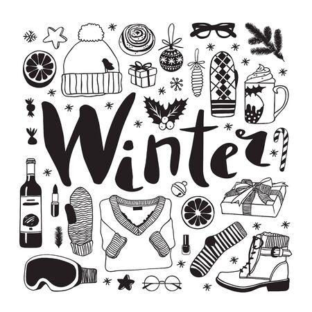 Hand drawn pattern with Christmas objects.Vector Celebration Illustration. Creative artwork. Cozy Winter set of decoration. Doodle Holidays background.  Illusztráció
