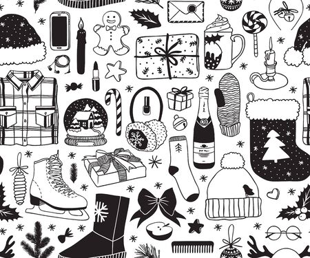 Hand drawn seamless pattern with Christmas objects.Celebration Illustration. Creative artwork. Cozy Winter set of decoration. Doodle Holidays background.
