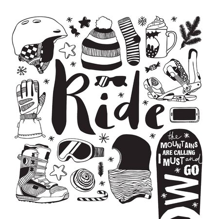 Hand drawn Fashion Illustration Snowboarding Things. Creative ink art work. Actual cozy vector drawing with Riders Items. Winter Sport set: wear, shoes, accessories, food, drinks, things