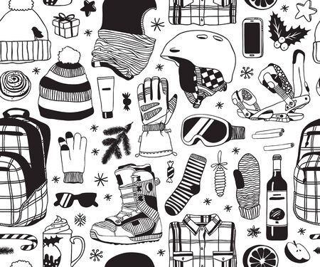 Hand drawn Fashion Illustration Snowboarding Things. Creative ink art work. Actual cozy vector drawing with Riders Items. Winter Sport seamless pattern with: wear, shoes, accessories, things Illustration