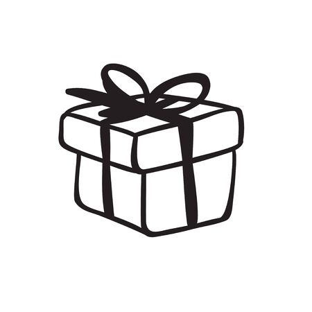 Hand drawn Fashion Illustration Romantic gift box isolated on white background. Creative ink art work. Actual vector drawing of Holiday things. Happy Valentine's Day set Banque d'images - 131768154
