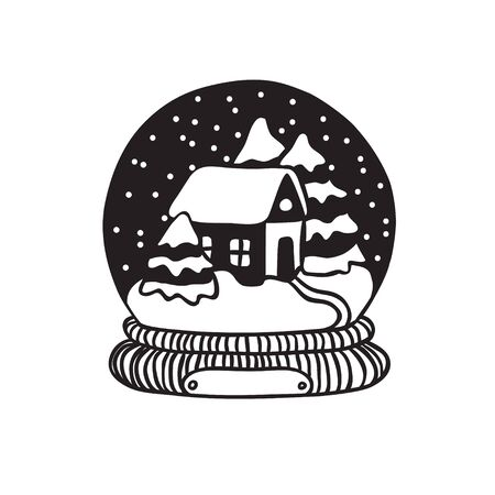 Hand drawn Christmas snow ball on white background. Creative ink art work. Actual vector doodle drawing decorations