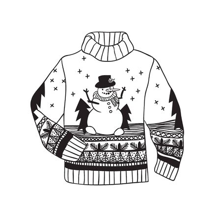Hand drawn illustration sweater. Creative ink art work. Actual vector drawing jumper Ilustração