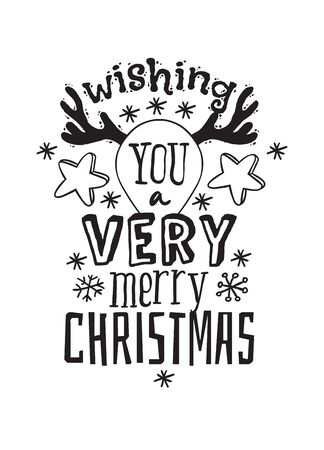 Hand drawn Christmas things on white background. Creative ink art work. Actual vector doodle drawing and Holidays text WISHING YOU A VERY MERRY CHRISTMAS