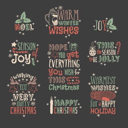 Hand drawn Christmas things on dark background. Creative ink art work. Actual vector doodle drawing and Holidays text Illustration