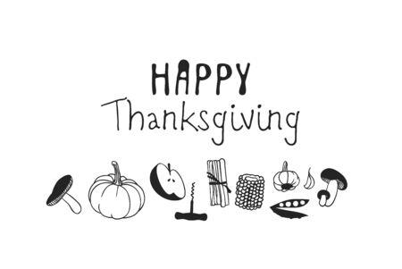 Hand drawn autumn holidays illustration. Creative ink art work. Actual vector black and white drawing. Thanksgiving Day set of things Vektoros illusztráció