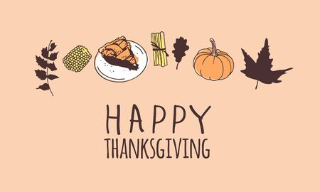 Hand drawn autumn holidays illustration. Creative ink art work. Actual vector drawing. Thanksgiving Day set of things