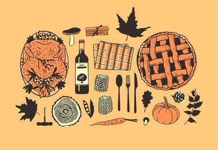 Hand drawn autumn holidays illustration. Creative ink art work. Actual vector drawing. Thanksgiving Day set: food, drinks, things Vektoros illusztráció