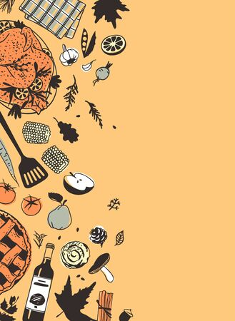 Hand drawn autumn holidays illustration. Creative ink art work. Actual vector drawing. Thanksgiving Day set: food, drinks, things 向量圖像