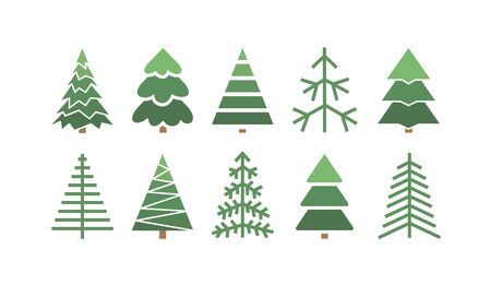 Flat set of Christmas trees. Holidays background. Abstract  line art drawing woods. Vector Holidays illustration