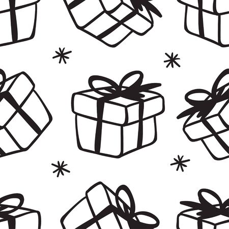 Hand drawn seamless pattern with Christmas Gift Box. Celebration Illustration. Creative artwork. Cozy Winter set of decoration. Doodle Holidays background.