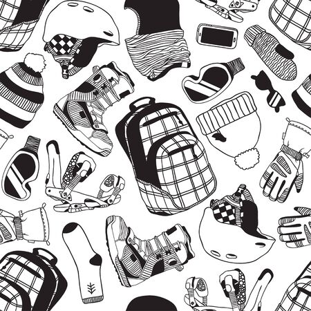 Hand drawn Fashion Illustration Snowboarding Things. Creative ink art work. Actual cozy seamless pattern with Riders Items. Winter Sport set: wear, shoes, accessories, things