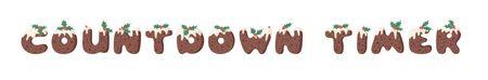 Cartoon illustration Christmas Pudding. Hand drawn font. Actual Creative Holidays bake alphabet and word COUNTDOWN TIMER