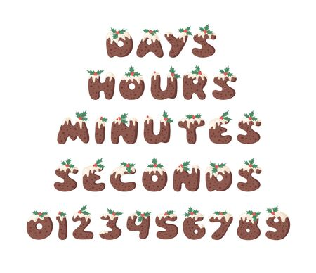 Cartoon illustration Christmas Pudding. Hand drawn font. Actual Creative Holidays bake alphabet and words DAYS, HOURS, MINUTES, SECONDS and numbers Illustration