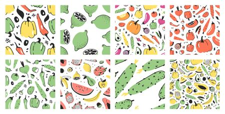 Hand drawn Big set of seamless patterns with vegetables and fruits. 일러스트