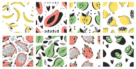 Hand drawn Big set of seamless patterns with vegetables and fruits. Ilustração