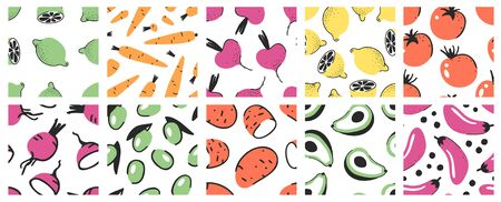 Hand drawn Big set of seamless patterns with vegetables and fruits. Illustration