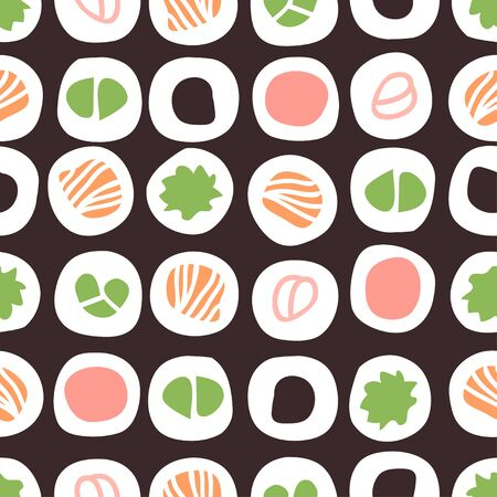 Hand drawn seamless pattern with sea food. Creative ink art work Asian dinner. Actual drawing sushi roll. Ilustracja