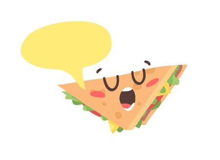 Cartoon drawing set of fast food emoji. Hand drawn emotional meal.Actual Vector illustration american cuisine. Creative ink art work sandwich Ilustracja