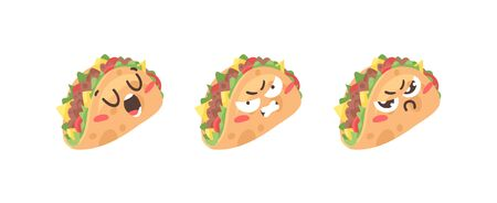 Cartoon drawing set of fast food emoji. Hand drawn emotional meal.Actual Vector illustration american cuisine. Creative ink art work mexican tacos