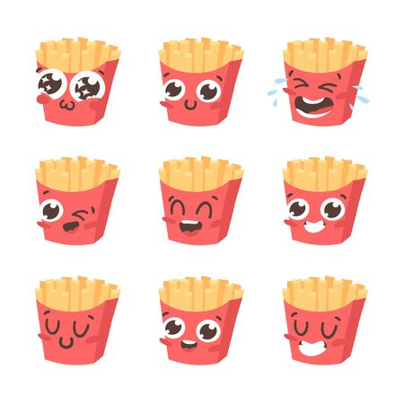 Cartoon drawing set of fast food emoji. Hand drawn emotional meal.Actual Vector illustration american cuisine. Creative ink art work french fries Ilustracja