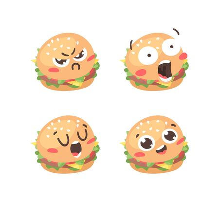 Cartoon drawing set of fast food emoji. Hand drawn emotional meal.Actual Vector illustration american cuisine. Creative ink art work burger