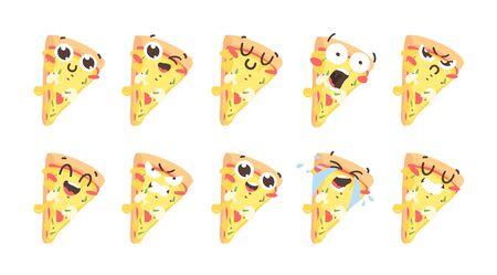 Cartoon drawing set of fast food emoji. Hand drawn emotional meal. Actual illustration italian cuisine. Creative ink art work pizza