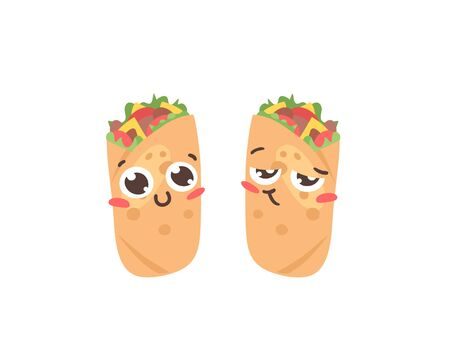 Cartoon drawing set of fast food emoji. Hand drawn emotional meal. Actual illustration mexican cuisine. Creative ink art work  burrito 向量圖像