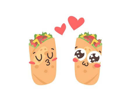 Cartoon drawing set of fast food emoji. Hand drawn emotional meal. Actual illustration mexican cuisine. Creative ink art work  burrito  イラスト・ベクター素材