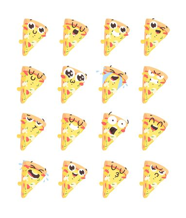 Cartoon drawing set of fast food emoji. Hand drawn emotional meal. Actual illustration italian cuisine. Creative ink art work pizza