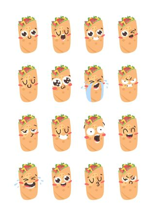 Cartoon drawing set of fast food emoji. Hand drawn emotional meal. illustration mexican cuisine. Creative ink art work  burrito