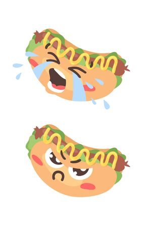 Cartoon drawing set of fast food emoji. Hand drawn emotional meal.illustration american cuisine. Creative ink art work hot dog  イラスト・ベクター素材