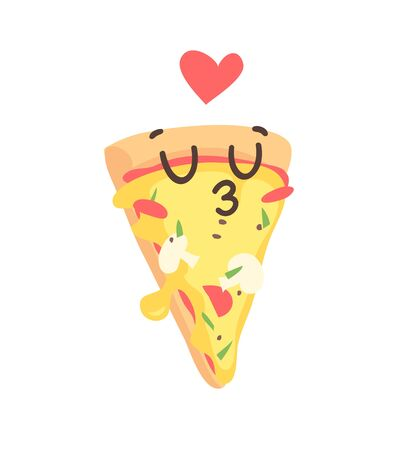 Cartoon drawing set of fast food emoji. Hand drawn emotional meal.Actual Vector illustration italian cuisine. Creative ink art work pizza  イラスト・ベクター素材