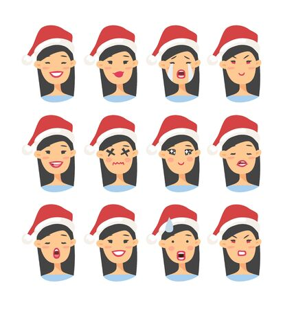 Set of drawing emotional asian character with Christmas hat. Cartoon style emotion icon. Flat illustration girl avatar with different facial expressions. Hand drawn vector emoticon women faces Illustration
