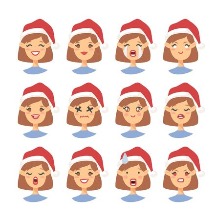 Set of drawing emotional caucasian character with Christmas hat. Cartoon style emotion icon. Flat illustration girl avatar with different facial expressions. Hand drawn vector emoticon women faces 版權商用圖片 - 135847416