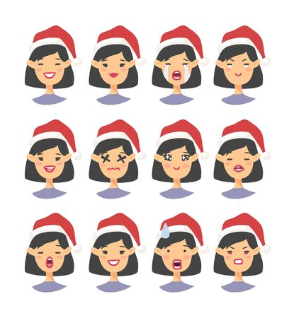 Set of drawing emotional asian character with Christmas hat. Cartoon style emotion icon. Flat illustration girl avatar with different facial expressions. Hand drawn vector emoticon women faces 版權商用圖片 - 135847417