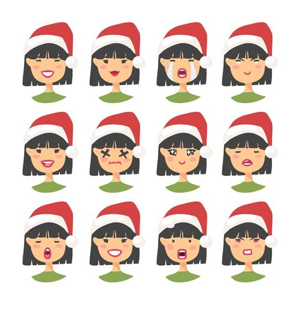 Set of drawing emotional asian character with Christmas hat. Cartoon style emotion icon. Flat illustration girl avatar with different facial expressions. Hand drawn vector emoticon women faces Ilustracja
