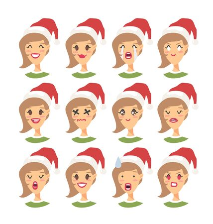 Set of drawing emotional caucasian character with Christmas hat. Cartoon style emotion icon. Flat illustration girl avatar with different facial expressions. Hand drawn vector emoticon women faces