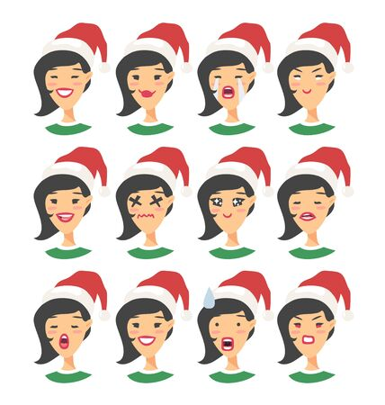 Set of drawing emotional asian character with Christmas hat. Cartoon style emotion icon. Flat illustration girl avatar with different facial expressions. Hand drawn vector emoticon women faces 向量圖像