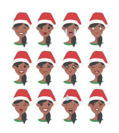 Drawing emotional african american character with Christmas hat. Cartoon style emotion icon. Flat illustration girl avatar with different facial expressions. Hand drawn vector emoticon women faces 版權商用圖片 - 135847422