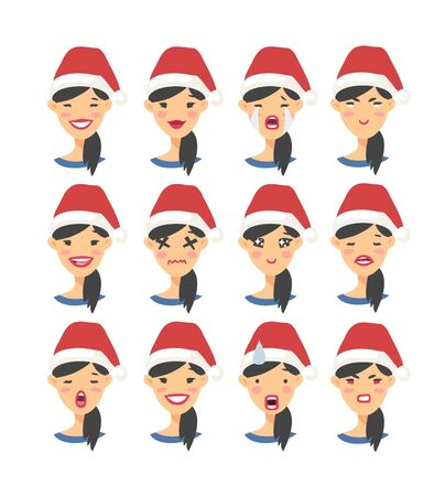 Set of drawing emotional asian characters with Christmas hat. Cartoon style emotion icons. Flat illustration Isolated girls avatars with different facial expressions. Hand drawn vector emoticon women's faces.