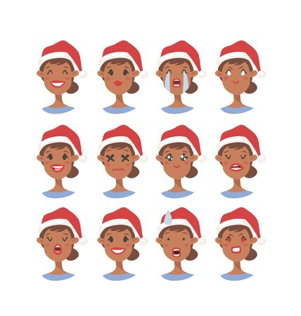 Drawing emotional african american character with Christmas hat. Cartoon style emotion icon. Flat illustration girl avatar with different facial expressions. Hand drawn vector emoticon women faces