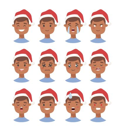 Drawing emotional african american character with Christmas hat. Cartoon style emotion icon. Flat illustration boy avatar with different facial expressions. Hand drawn vector emoticon man faces
