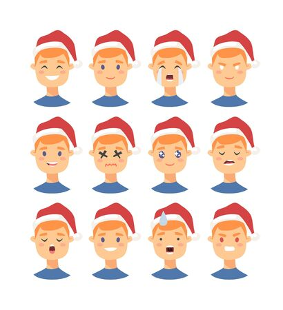 Set of drawing emotional caucasian character with Christmas hat. Cartoon style emotion icon. Flat illustration boy avatar with different facial expressions. Hand drawn vector emoticon man faces 版權商用圖片 - 135847429