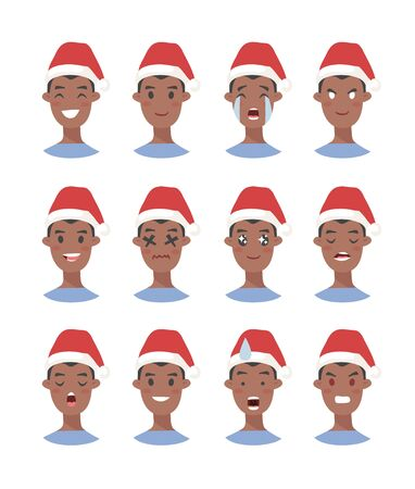 Drawing emotional african american character with Christmas hat. Cartoon style emotion icon. Flat illustration boy avatar with different facial expressions. Hand drawn vector emoticon man faces 版權商用圖片 - 135847432