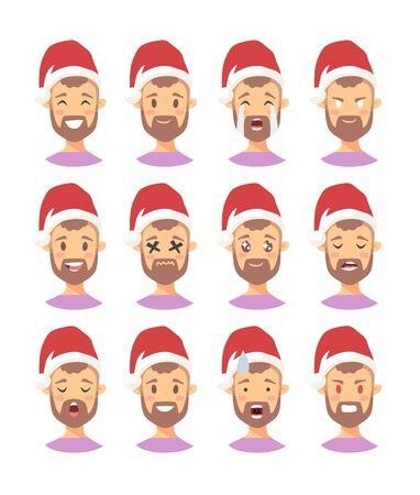 Set of drawing emotional caucasian character with Christmas hat. Cartoon style emotion icon. Flat illustration boy avatar with different facial expressions. Hand drawn vector emoticon man faces Vektoros illusztráció